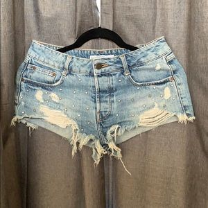 Zara TRF destroyed denim shorts